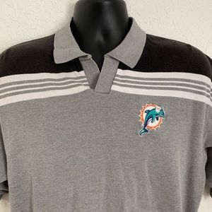 Vintage Miami Dolphins Gray NFL Polo  Shirt Large